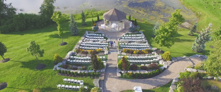 aerial shot of ceremony space at The Royal Ambassador Event Centre in Caledon